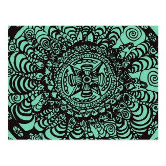 Carte Postale Mandala aztèque noir et vert superbe