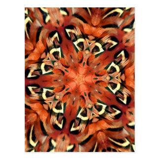 Carte Postale Mandala de kaléidoscope de plume de faisan de