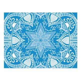 Carte Postale Mandala d'oiseau bleu