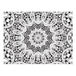 Carte Postale Mandala noir et blanc