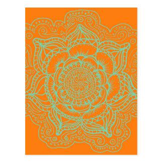 Carte Postale Mandala vert orange
