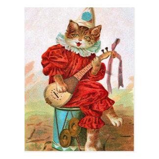 Carte Postale Mandoline vintage de chat de musicien de farceur