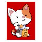 Carte Postale Maneki mignon Neko (chat montrant du doigt