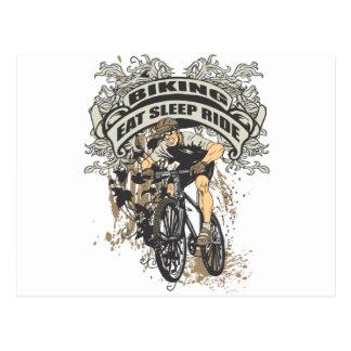 Carte Postale Mangez, dormez, montez faire du vélo