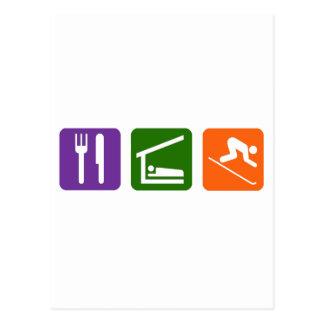 Carte Postale Mangez le ski de sommeil