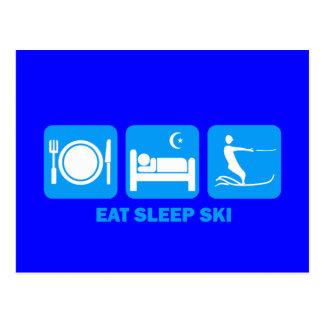 Carte Postale mangez le ski d'eau de sommeil