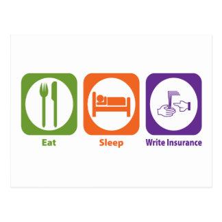 Carte Postale Mangez le sommeil écrivent l'assurance