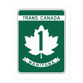 Carte Postale Manitoba, signe de route du Transport-Canada