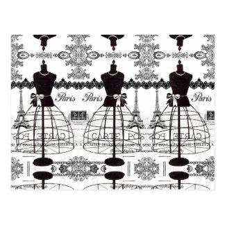 Carte Postale Mannequin blanc noir de mode de Paris