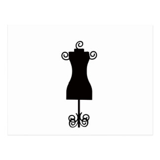 Carte Postale Mannequin noir et blanc de robe de mode