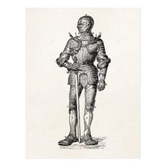 Carte Postale Manteau de l'épée brillante d'armure de chevalier