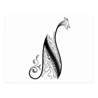 Carte Postale Manuscrit vintage noir du monogramme N floral