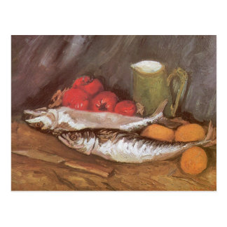Carte Postale Maquereaux, citrons et tomates par Vincent van