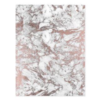Carte Postale Marbre rose d'or de faux blanc élégant moderne