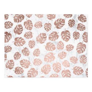 Carte Postale Marbre rose d'or de monstera tropical à la mode de