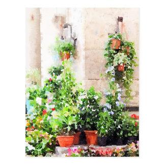 Carte Postale Marché de fleur peint par aquarelle italienne