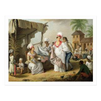 Carte Postale Marché de toile, Roseau, Dominique, c.1780