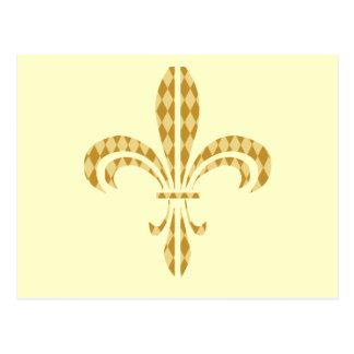 Carte Postale Mardi gras Harlequin Fleur De Lis