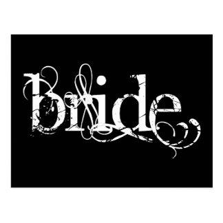 Carte Postale Mariage grunge chic - la jeune mariée - B&W