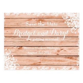 Carte Postale Mariage rustique élégant d'Économie-le-Date de