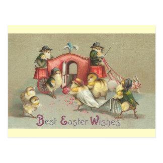 Carte Postale Mariage vintage de Pâques - chariot