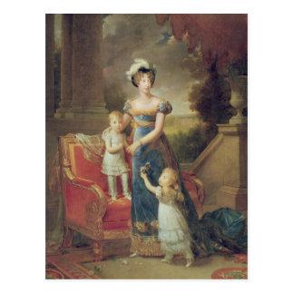 Carte Postale Marie-Caroline de Bourbon avec ses enfants