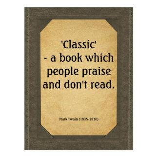 Carte Postale Mark Twain quote on books