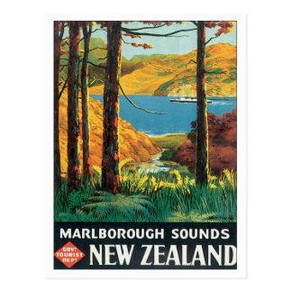 Carte Postale Marlborough vintage retentit la Nouvelle Zélande