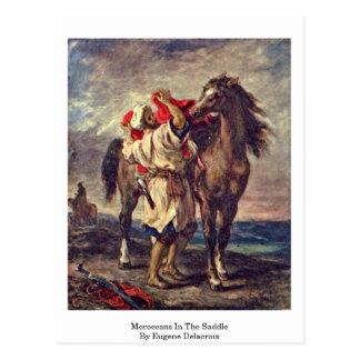 Carte Postale Marocains dans la selle par Eugene Delacroix