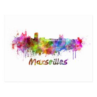 Carte Postale Marseille skyline in watercolor