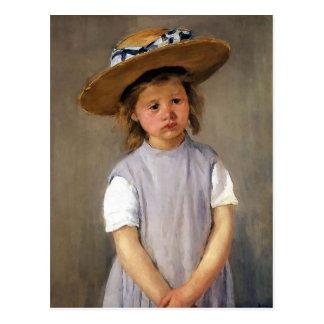 """Carte Postale Mary Cassatt """"enfant dans un chapeau de paille """""""