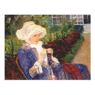 Carte Postale Mary Cassatt- Lydia faisant du crochet dans le