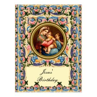 Carte Postale Mary Madonna et l'enfant - l'anniversaire de Jésus