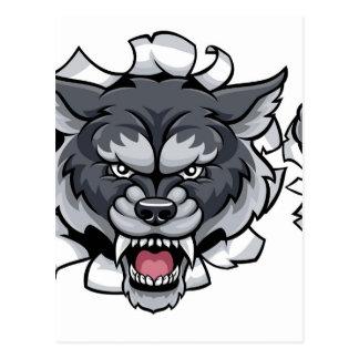 Carte Postale Mascotte du football de loup cassant l'arrière -