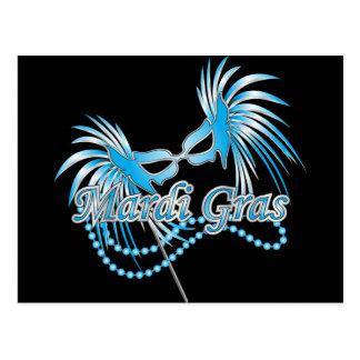 Carte Postale Masque bleu de mardi gras