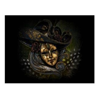 Carte Postale Masque de carnaval d'or avec le casquette et les