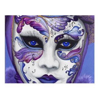 Carte Postale Masque pourpre de carnaval par PSOVART