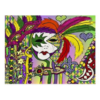 Carte Postale Masque psychédélique de plume de mardi gras