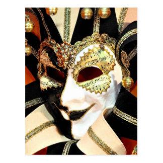 Carte Postale Masque vénitien de farceur de carnaval avec Bells