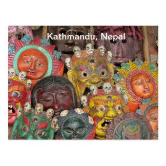 Carte Postale Masques chez Boudhanath
