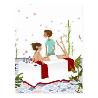 Carte Postale Massez le thérapeute massant une femme se trouvant