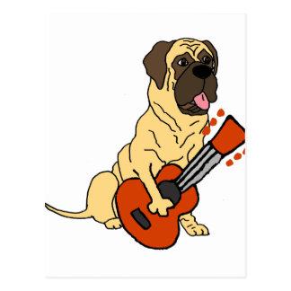 Carte Postale Mastiff anglais mignon jouant la bande dessinée de