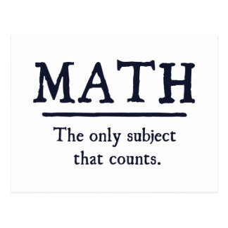 Carte Postale Maths le seul sujet qui compte