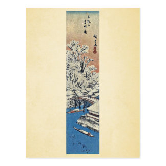 Carte Postale Matsuchiyama, après neige par Ando, Hiroshige