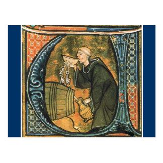Carte postale médiévale de vin d'échantillon de