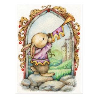 Carte postale médiévale mignonne d'art de lapin de