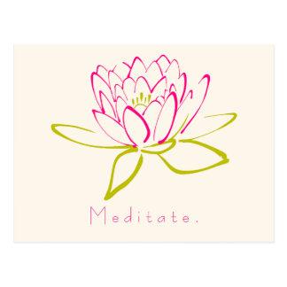 Carte Postale Méditez. Fleur de Lotus