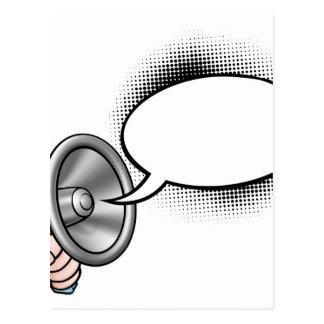 Carte Postale Mégaphone de bulle de la parole de bande dessinée