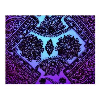 Carte Postale Mélange bleu de henné de Mehndi