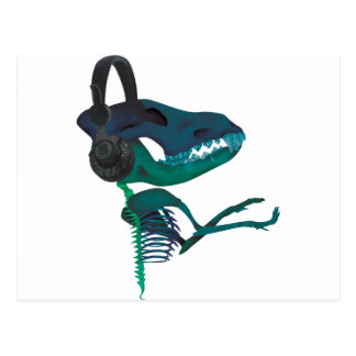 Carte Postale Mélomane d'écouteur de dinosaure de Wellcoda
